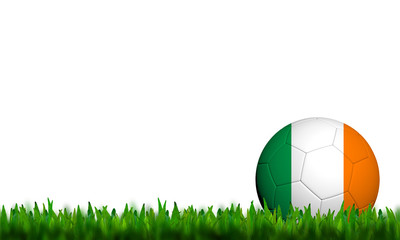 3D Football Ireland Flag Patter in green grass on white backgrou