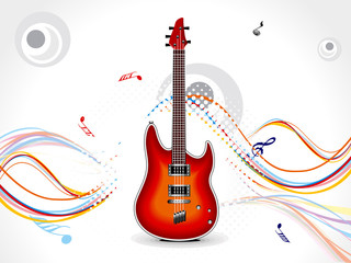 abstract wave background with guitar