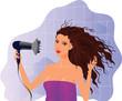 Постер, плакат: Brunette girl with hairdryer