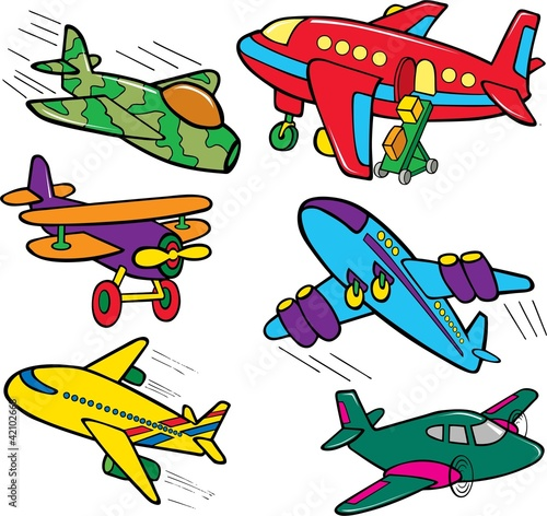 set of different color airplanes