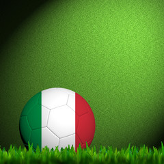 3D Football Italy Flag Patter in green grass