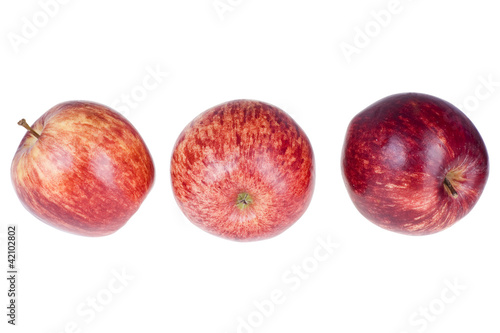 Red apples on a white background with clipping path