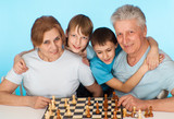 Happy Caucasian campaign of playing chess against poster