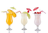 Collection of cocktail drinks, isolated on white background