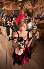Dangerous Showgirl in Old Saloon