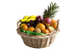 Fruit basket isolated on white background