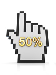 Golden word 50% and large cursor.