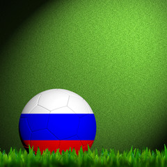 3D Football Russia Flag Patter in green grass