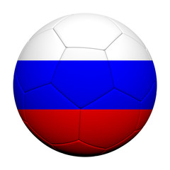 Russia Flag Pattern 3d rendering of a soccer ball