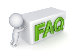 3d small person pushing word FAQ.