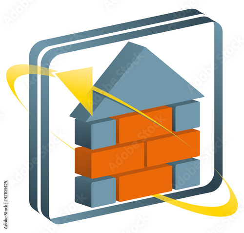 3-D Perspektisch Logo Signet Haus Bau Pfeile mit QXP9 Datei