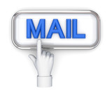 Hand pushing button MAIL.