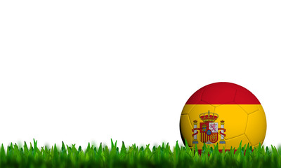 3D Football Spain Flag Patter in green grass on white background