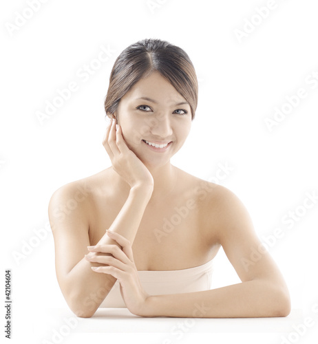 asian woman model beauty shot on white background