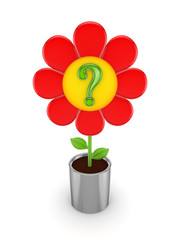 Cute red flower with a green query mark.