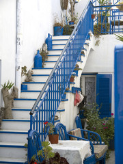 Blue and White staircase in Fira Santorini Greece