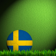 3D Football Sweden Flag Patter in green grass