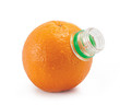 Orange with bottle neck isolated on white background