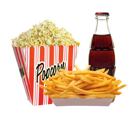 Full bucket of popcorn, cola in bottle and french fries potatoes