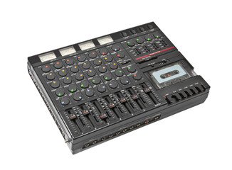 Retro Sound Mixing Board and Cassette Recorder Isolated