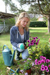 Cheerful blond woman planting flowers in garden