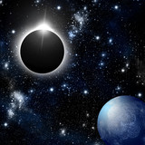 Eclipse and planet in deep space
