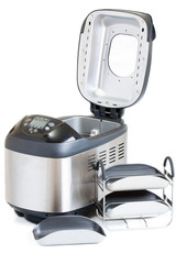 Breadmaker machine and accessories isolated on a white