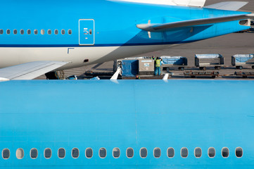 Close-up blue planes