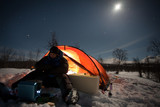 On a Winter Camping at Night