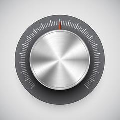 Chrome volume knob (button, music tuner) with light background