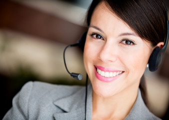 Woman at a call center