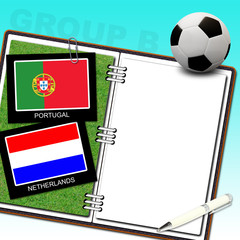 Soccer ball with flag portugal and netherlands