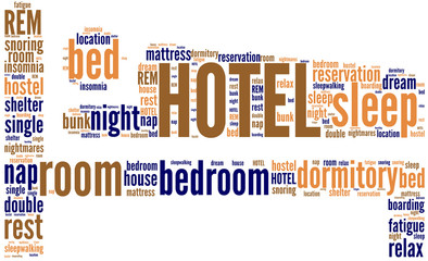bed hotel pictogram tag cloud