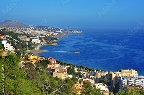 Aerial view of northern coastline of Malaga, Spain
