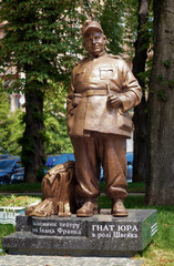 Monument to ukrainian stage director and actor Gnat Yura in Kiev