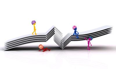 Figuren auf einer Modellbrücke