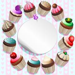 Pasticcini Sfondo Biglietto-Cupcakes around Label Card-Vector