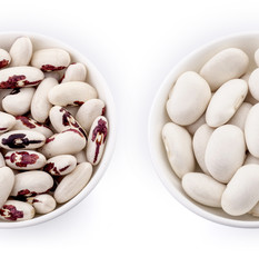 Dried beans and white beans on white background