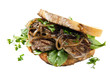 Steak Sandwith with Onions over White