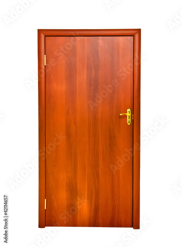 closed door isolated on white