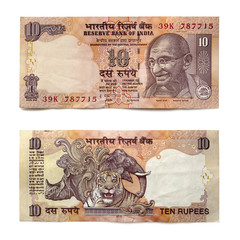 Indian Ten Rupee Note Front and Back over White