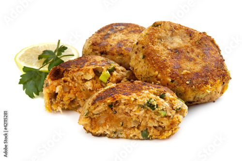 Salmon Fishcakes over White Background