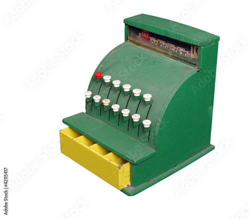 Toy Cash Register on White