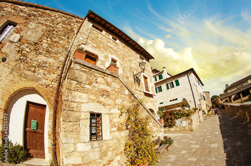 Typical Ancient Homes of a Medieval Town in Tuscany - 42115473