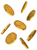 Gold coins with dollar sign