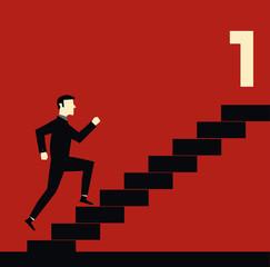 Running Businessman Stair