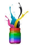 colorful ink splashing