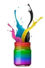 colorful ink splashing