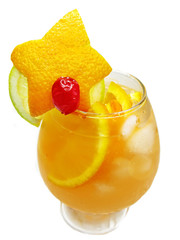 fruit punch cocktail drink with orange