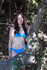 Asian girl in the Mediterranean forest5